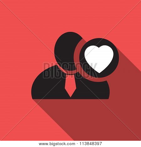Heart Black Man Silhouette Icon On The Vintage Red Background, Long Shadow Flat Design Icon For Foru