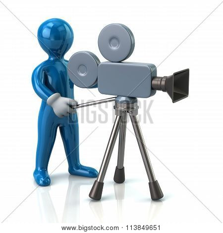 Illustration Of Blue Video Camera Operator