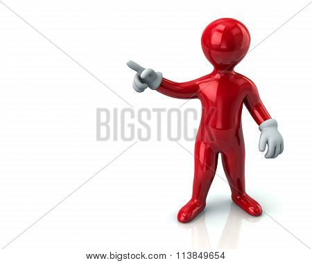 Red Cartoon Man  Pointing With His Index Finger