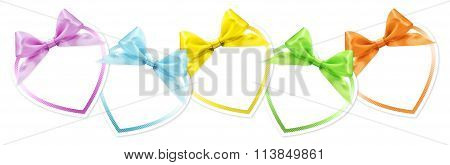 Shapes Of Hearts In Various Colors Whit Ribbon Bow Isolated On White