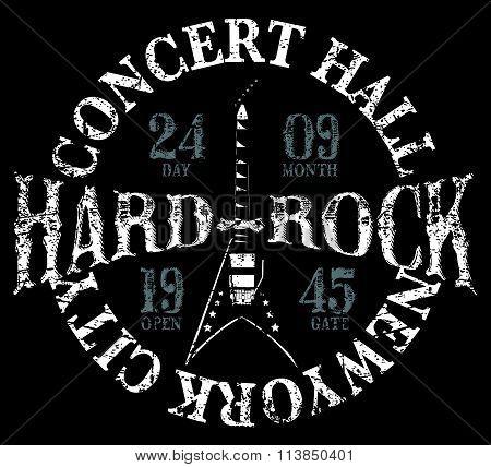 Vintage Hard Rock Typographic For T-shirt ,tee Design,poster,vector Illustration