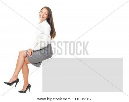 Woman Sitting On Banner