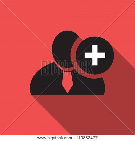Plus Sign Black Man Silhouette Icon On The Red Vintage Background, Long Shadow Flat Design Icon For