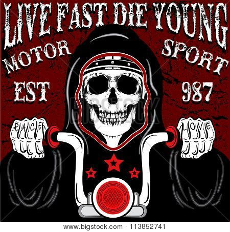 Skull Motorcycle Poster Vintage Man T Shirt Graphic Vector Design