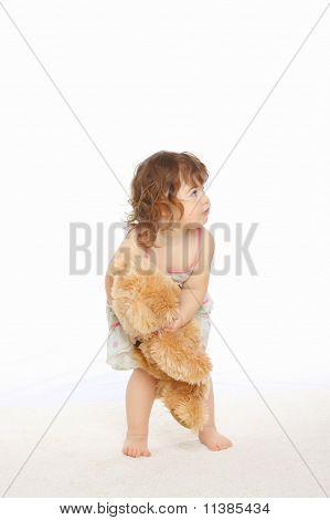 Little Girl Hold Her Teddy Bear