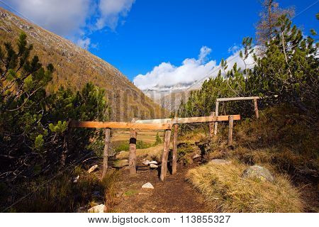 Wooden Fence For Grazing In Mountain