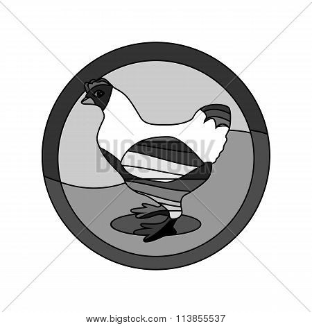 Monochrome Outlined Chicken