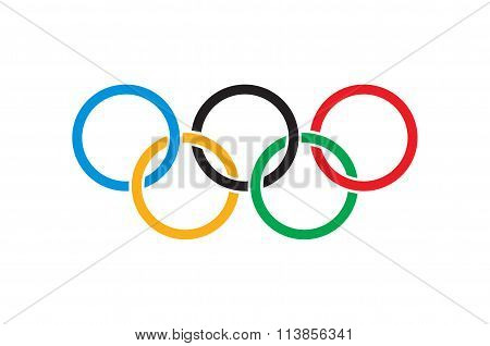 Kremenchug, Ukraine -05 January 2016. Olympics flag. Olympic rings on white colors flag. Vector illu