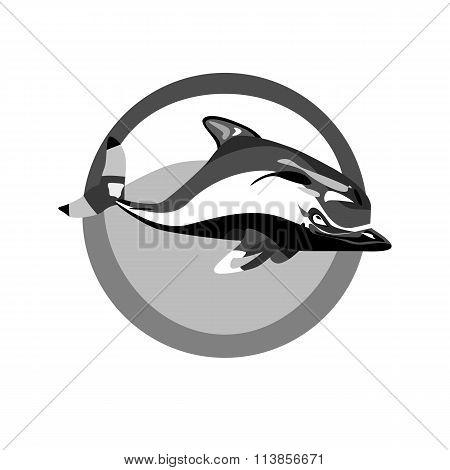 Monochrome Swimming Dolphin