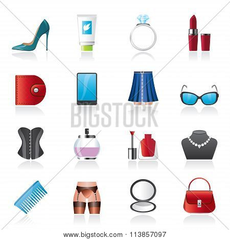 Female accessories and clothes icons