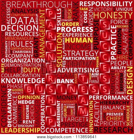 Business Words Of White, Black And Yellow Colors On Red Background