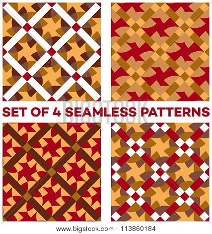 Set Of 4 Contemporary Geometric Seamless Patterns With Different Geometric Elements