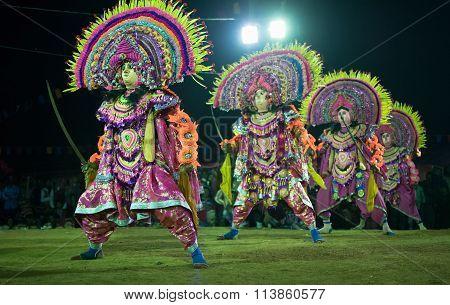 Chhau Dance, Indian Tribal Martial Dance At Night In Village