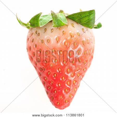 One Half-ripe Strawberry With Leaves