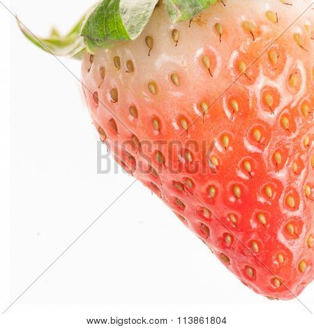 Closeup Of Half-ripe Strawberry With Leaves