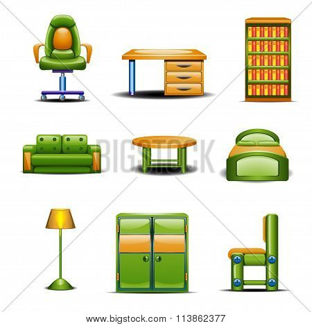 set of different home furniture colored