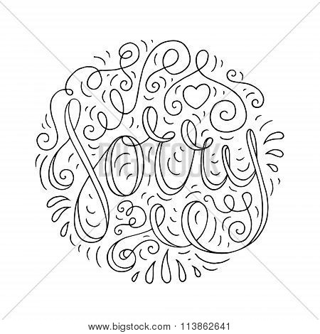 Doodle Typography Poster With Ornate Apologize