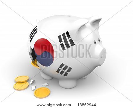 South Korea economy and finance concept for poverty and national debt