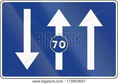 Road Sign Used In Spain - Lanes For Traffic Based On The Posted Speed