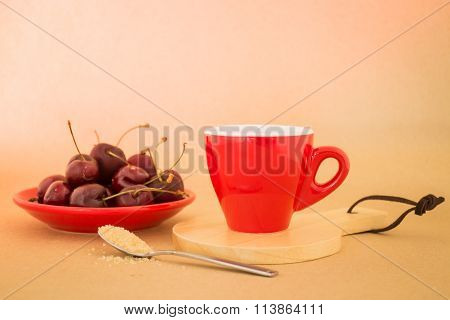 Beautiful Breakfast Of Red Coffee Cup And Cherries