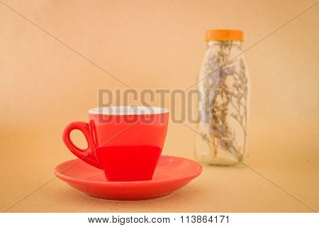 Beautiful Red Coffee Cup On Romantic  Table