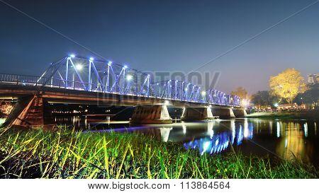 The Iron Bridge Over The Mae Ping River, Chiangmai ,thailand