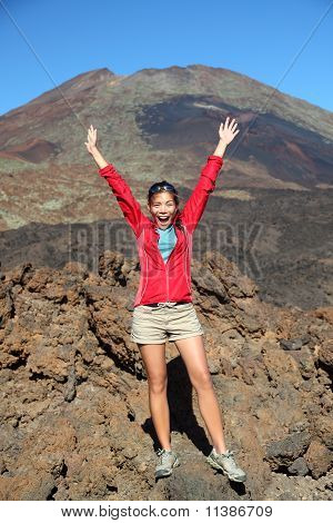 Happy Hiking Person Celebrating