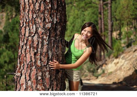 Woman Playful In Forest