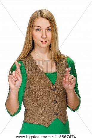woman crossing fingers, praying, christening