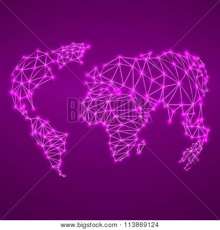 Abstract polygonal world map with glowing dots and lines