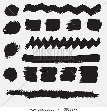 Splash Banner. Ink Stroke Background. Grunge Vintage Set, Texture Background.
