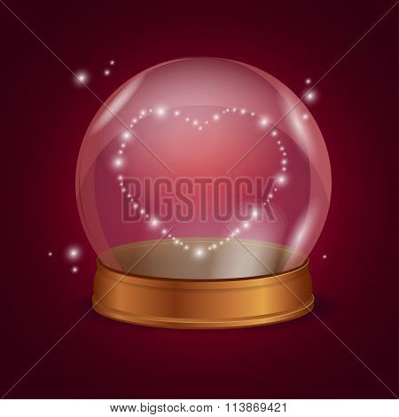 Empty Crystal Ball Valentine Heart. Vector