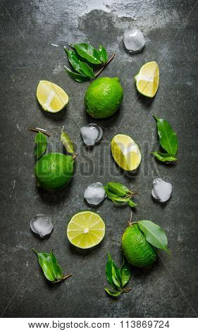 Lime Background. Limes With Leaves And Ice.