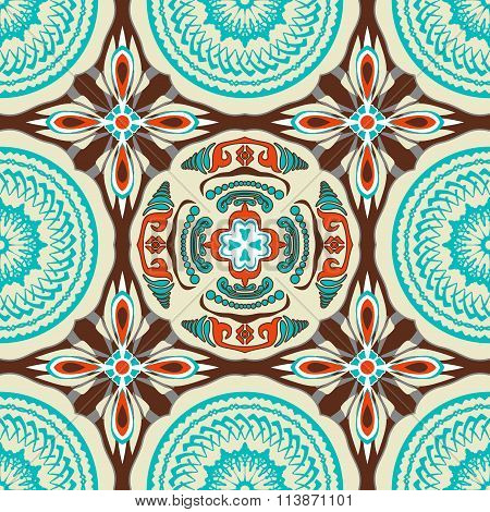Stained-glass window. Seamless elegant Ornamental pattern.Ceramic tiles. Orient traditional ornament