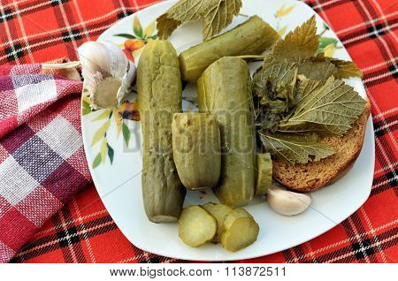 Pickles With Bread On The Plate