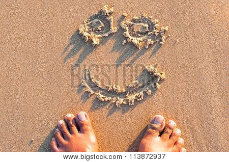 Foot And Smiley Sand Smile Summer Beach In Warm Light