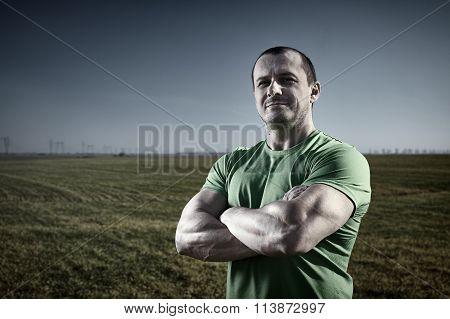 Strong Man Outdoor Near His Farm
