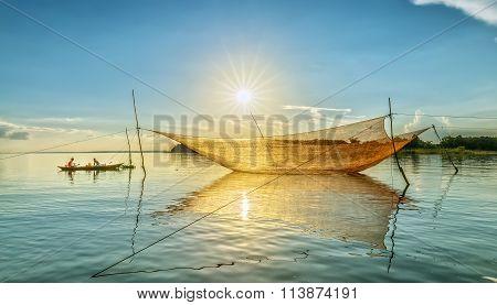 Lift nets sunset