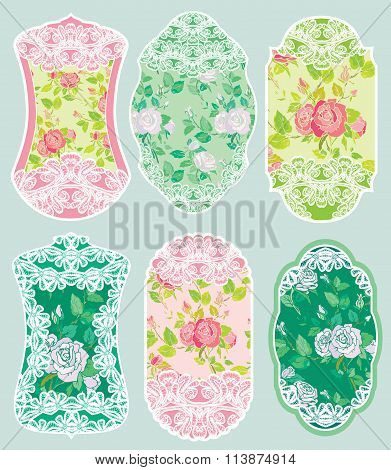 Set Of Holiday Banners And Labels In Pink And Green Colors With White Lace And Rose Flowers. Frames,