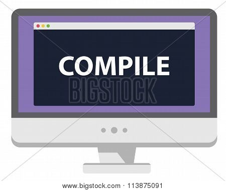 Vector illustration computer screen showing compile heading