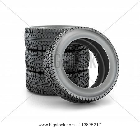 Stack Of Four Wheel New Black Tyres For  Car Isolated On White Background