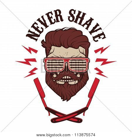 Never Shave. Vector Illustration.