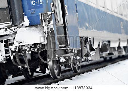 Train Wagon Buffers And Links Frozen In Winter