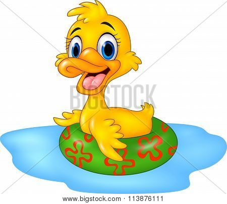 Cute duck floating with inflatable ring