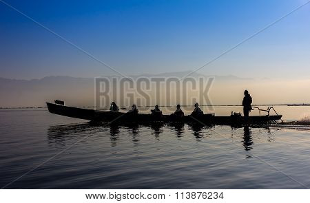 Silhouette Of Boat At Sunset Inle Lake Burma Myanmar