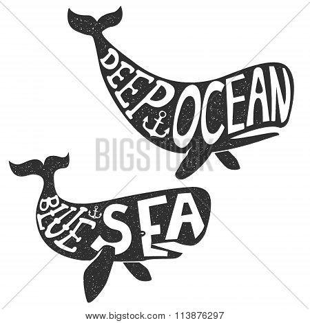 Deep Sea. Whale Illustration.