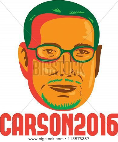 Jan. 11, 2016: Illustration showing neurosurgeon conservative figure and Republican 2016 presidential candidate Ben Carson done in retro style with words Carson 2016.
