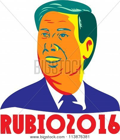 Jan. 11, 2016: Illustration showing the bust of Marco Rubio an American senator politician and Republican 2016 presidential candidate done in retro style with words Rubio 2016