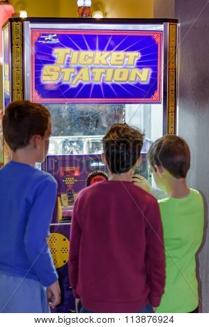 Kids At The Ticket Station