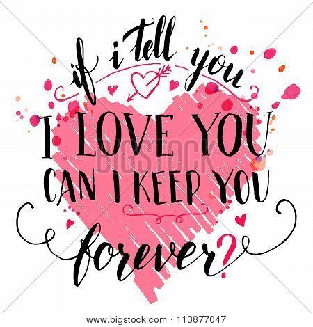Brush Calligraphic Love Quote Card